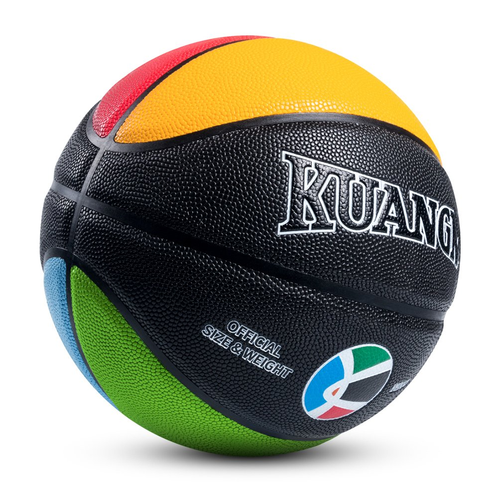 Kuangmi Olympic Colors Basketball Size 3,4,5,6,7 for Baby Child Boys Girls Youth Men Women (Child Size 4(25.5''))