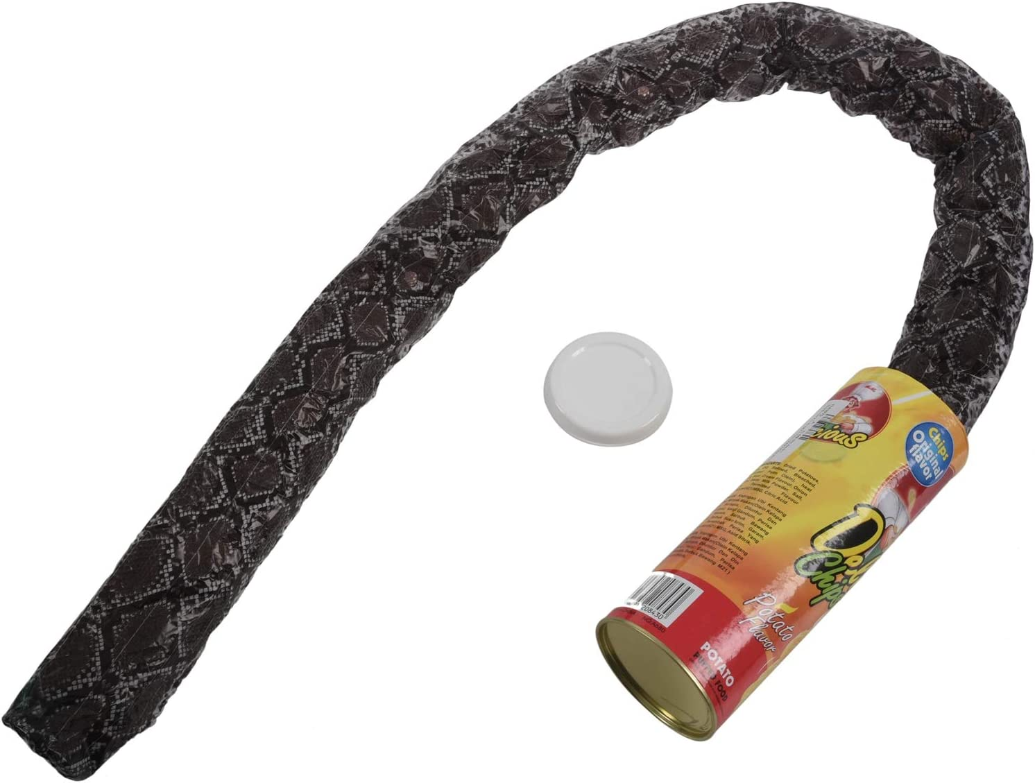 Potato Chip style YRO The Potato Chip Snake Can Jump Spring Snake Toy Gift April Fool Day Halloween Party Decoration Jokes In A Can Gag Gift Prank Large Size