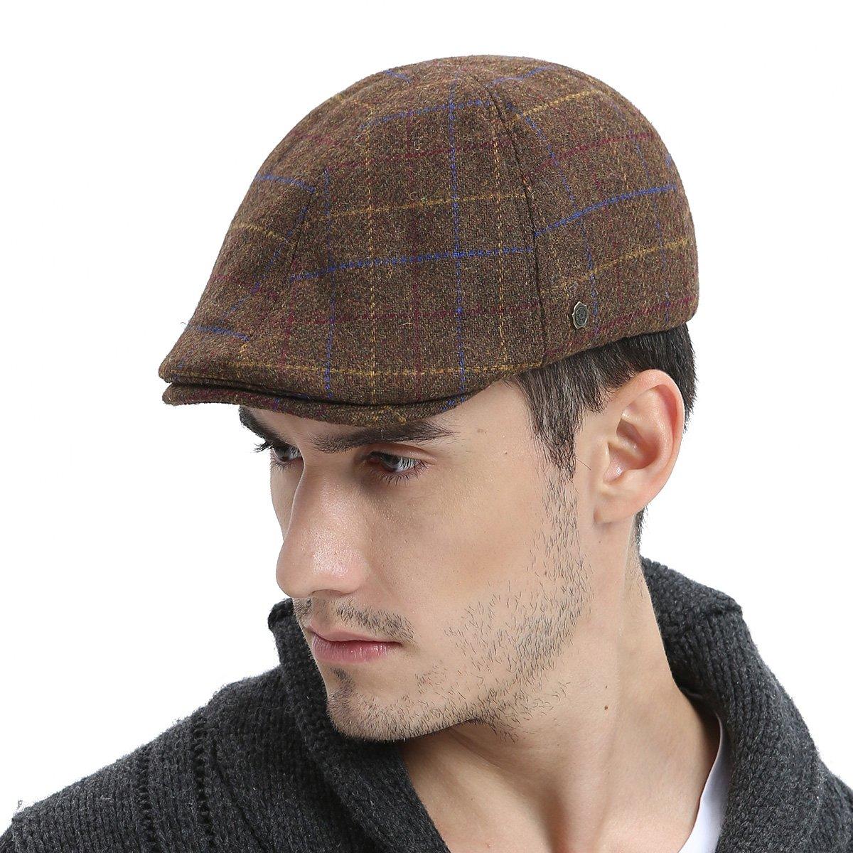 VOBOOM Mens Winter Wool Blend Newsboy Cap Warm Flat Ivy Driving Cap BDMZ180-Gren