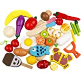 Play Food Set 32 Pcs Wooden Cutting Food Magnetic Fruits and Vegetables Kitchen Set Educational Toy for Preschool Age Kids Toddlers Boys Girls