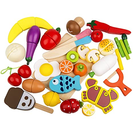 Amazon Com Play Food Set 32 Pcs Wooden Cutting Food Magnetic Fruits
