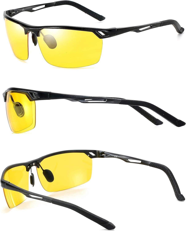 LAIWOO Night Driving Glasses Anti Glare Lens Driving Eyewear with Al-Mg Metal Frame UV400