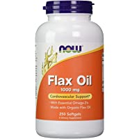 NOW Foods 【大容量】フラックスオイル(亜麻仁) 1000mg 250粒 Flax Oil 1000mg [並行輸入品]