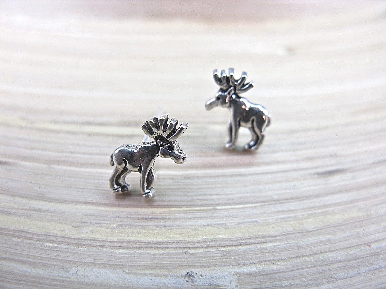 FaithOwl Reindeer Deer Stud Earring 925 Sterling Silver