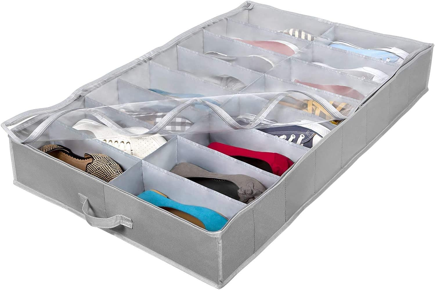 Extra-Large Under Bed Shoe Storage Organizer - Underbed Storage Solution Fits Men's and Women's Shoes, High Heels, and Sneakers with Durable Vinyl Cover & Extra-Strong Zipper - Grey