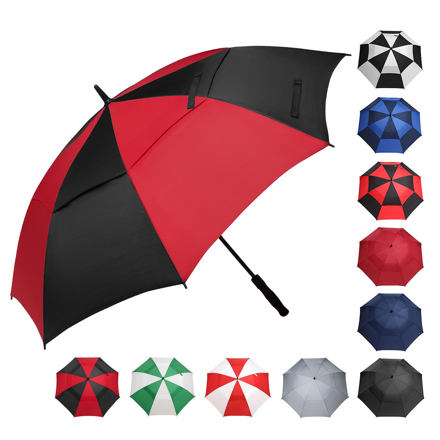 BAGAIL Golf Umbrella 68/62/58 Inch Large Oversize Double Canopy Vented Windproof Waterproof Automatic Open Stick Umbrellas for Men and Women (Red Black, 62 inch) by BAGAIL