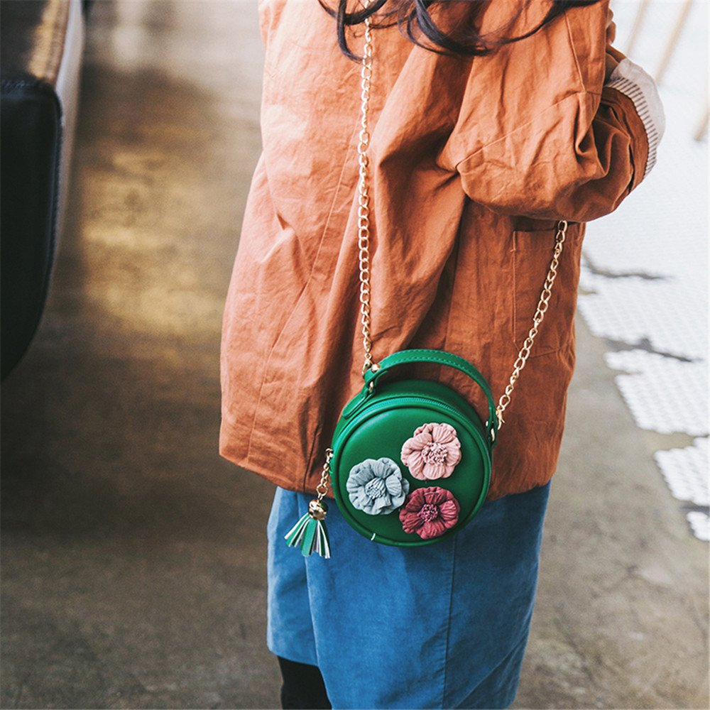Green Crossbody Bags Dream Room Girls Tassel Circle-Shape Floral Handbag Shoulder Bag Mini Messenger Bag