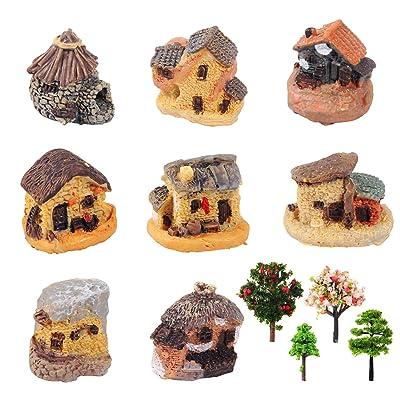 Kbraveo 12pcs Fairy Garden Stone House and Fairy Garden Tree, Fairy Garden Kits Dollhouse Supplies DIY Outdoor Decorations : Garden & Outdoor