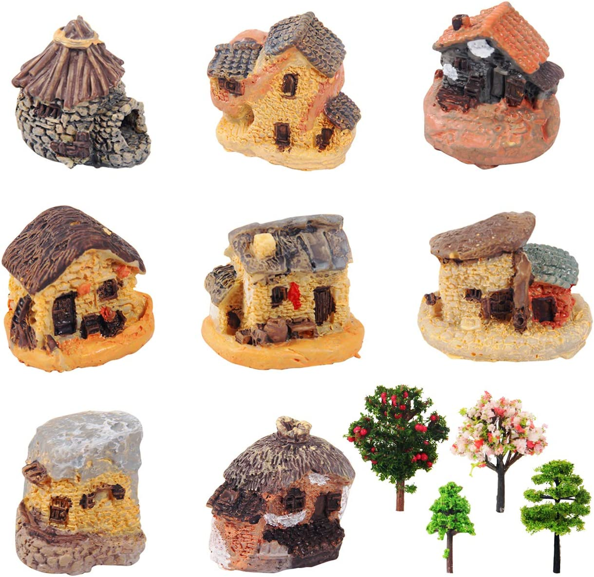 Kbraveo 12pcs Fairy Garden Stone House and Fairy Garden Tree,Fairy Garden Kits Dollhouse Supplies DIY Outdoor Decorations