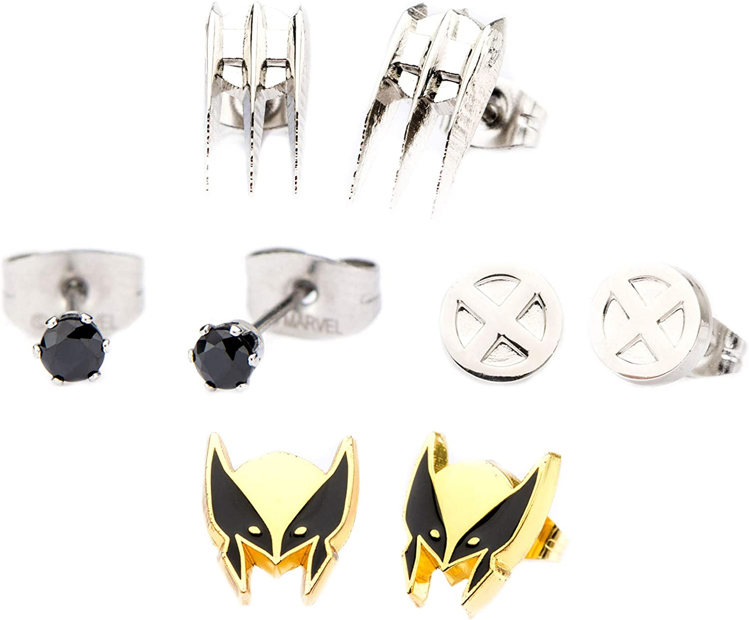Marvel Comics Unisex Adult Wolverine Stainless Steel Stud Earrings Set, Silver/Gold, One Size