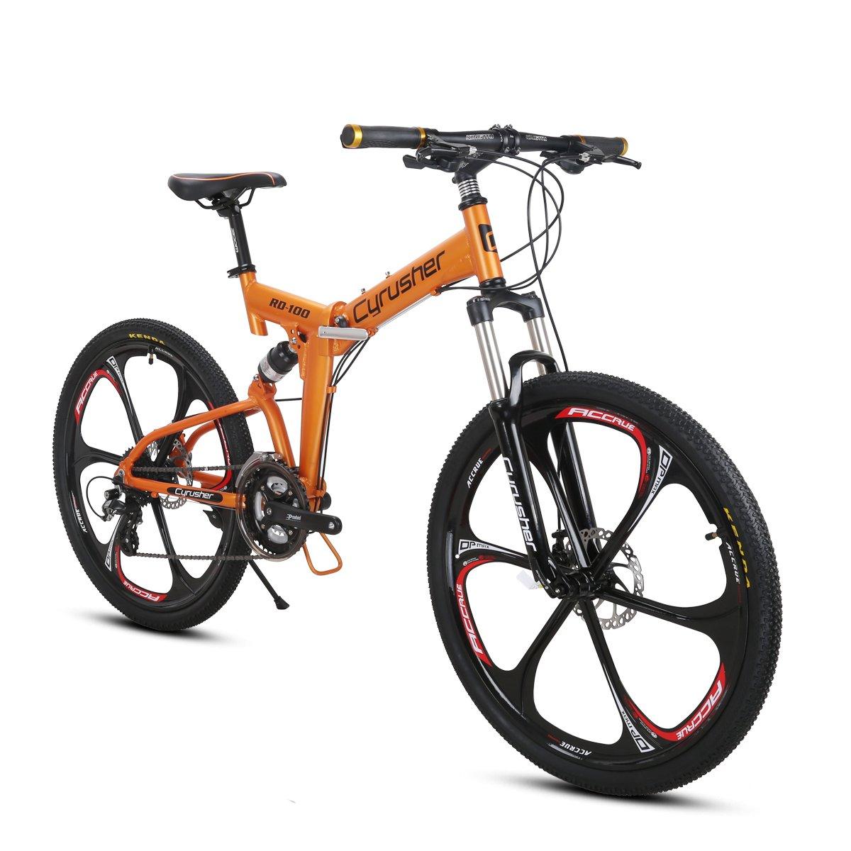Excy RD100 26インチ マウンテンバイク MTB 折りたたみ 自転車 シマノ製24段変速 フルサスペンション B078SRYLM1オレンジ