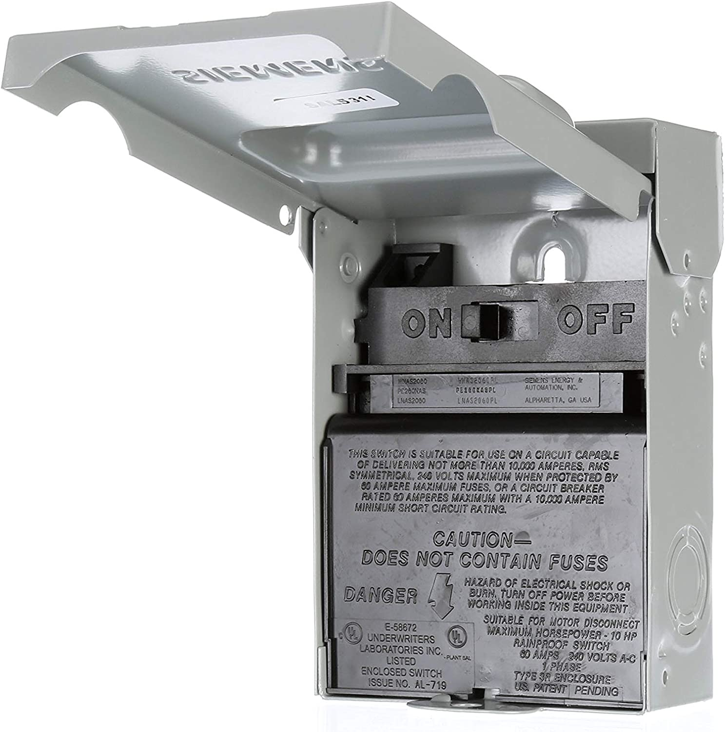 Siemens WNAS2060 Non-Automatic Switch AC Disconnect - Appliance Replacement Parts -
