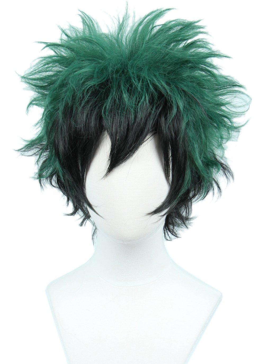 Linfairy Unisex Short Bald Wig Halloween Costume Wig for Adult Sliver+Light Green