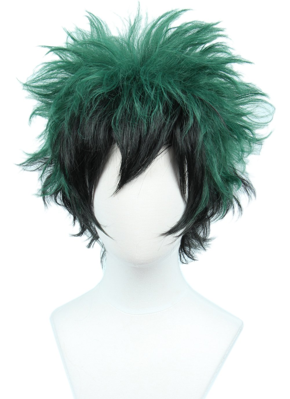 Linfairy Anime Cosplay Wig Short Black Green Halloween Costume Curly Wig by Linfairy