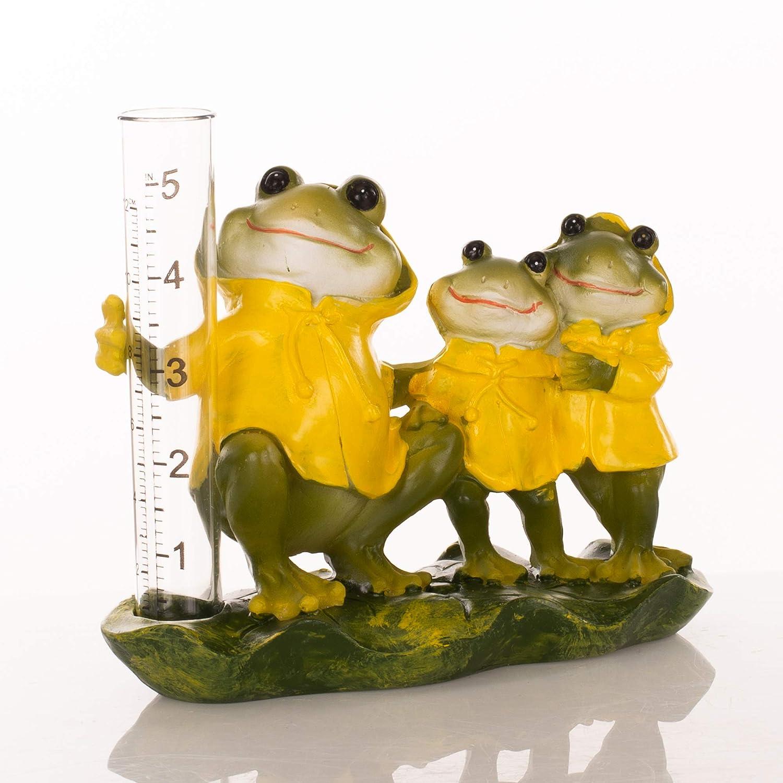 Transpac Happy Raincoat Frog Family Sunshine Yellow 7 x 6 Resin Stone Rain Gauge