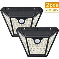Focos LED Exterior Solares, Tasmor Luces Solares Exterior con Sensor de Movimiento, 3 Modos, 102 LED, 1500LM, IP65 Impermeable Lámparas Solares para Jardin, Garaje, Patio, Piscina (2 Unidades)