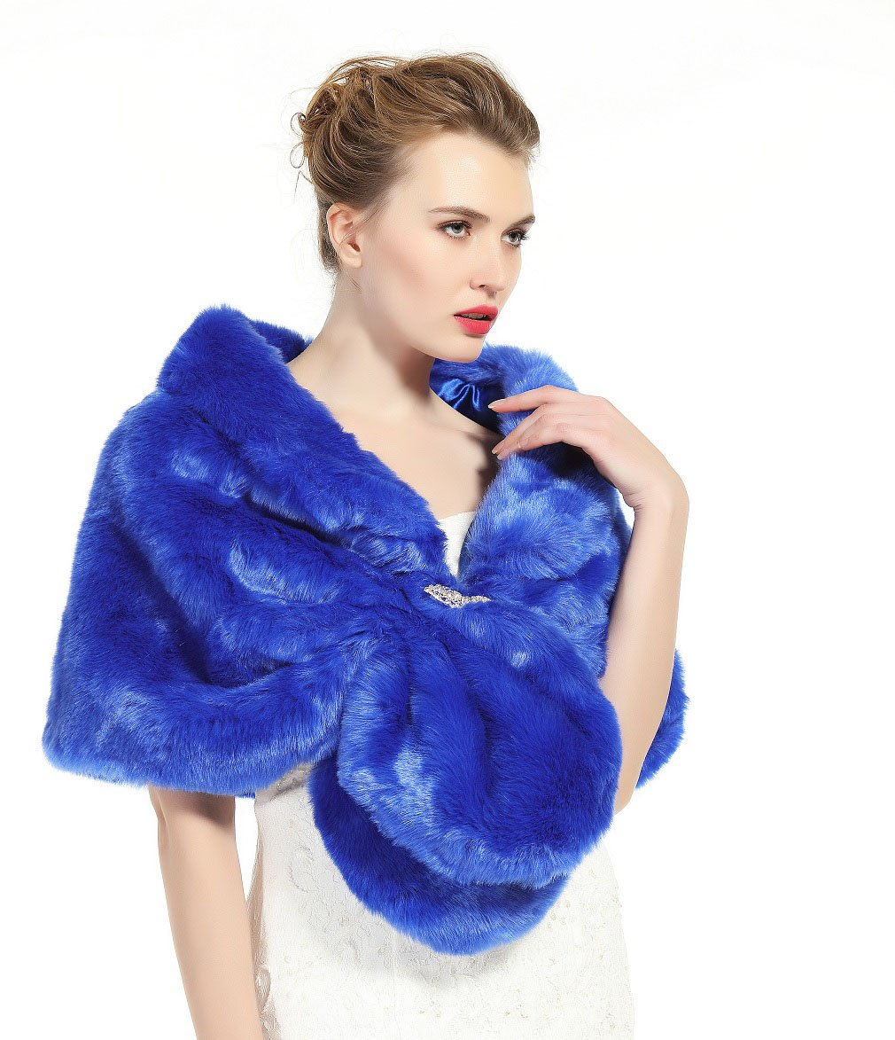 Faux Fur Shawl Wrap Stole Shrug Winter Bridal Wedding Cover Up Royal Blue Size M by MISSYDRESS (Image #3)