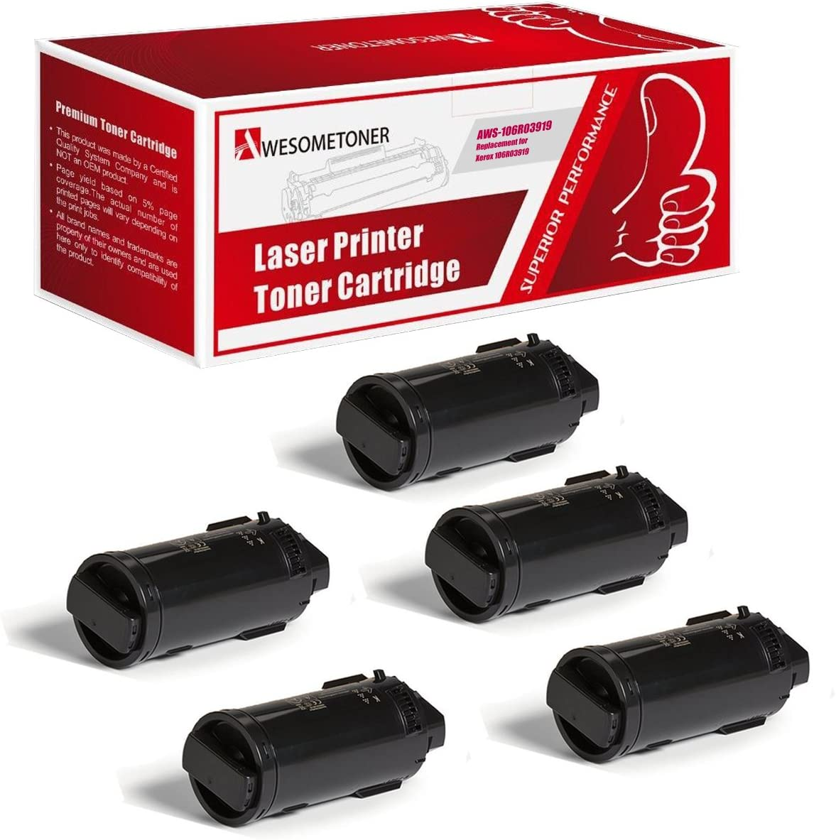 Awesometoner Compatible Extra High Capacity Toner Cartridge Replacement for Xerox 106R03919 use with VersaLink C600s Black, 5-Pack