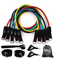 QOZY Latex Resistance Bands Set 11pcs | Workout Exercise Bands with Door Anchor, Handles | Stackable Up to 150lbs 68kgs…