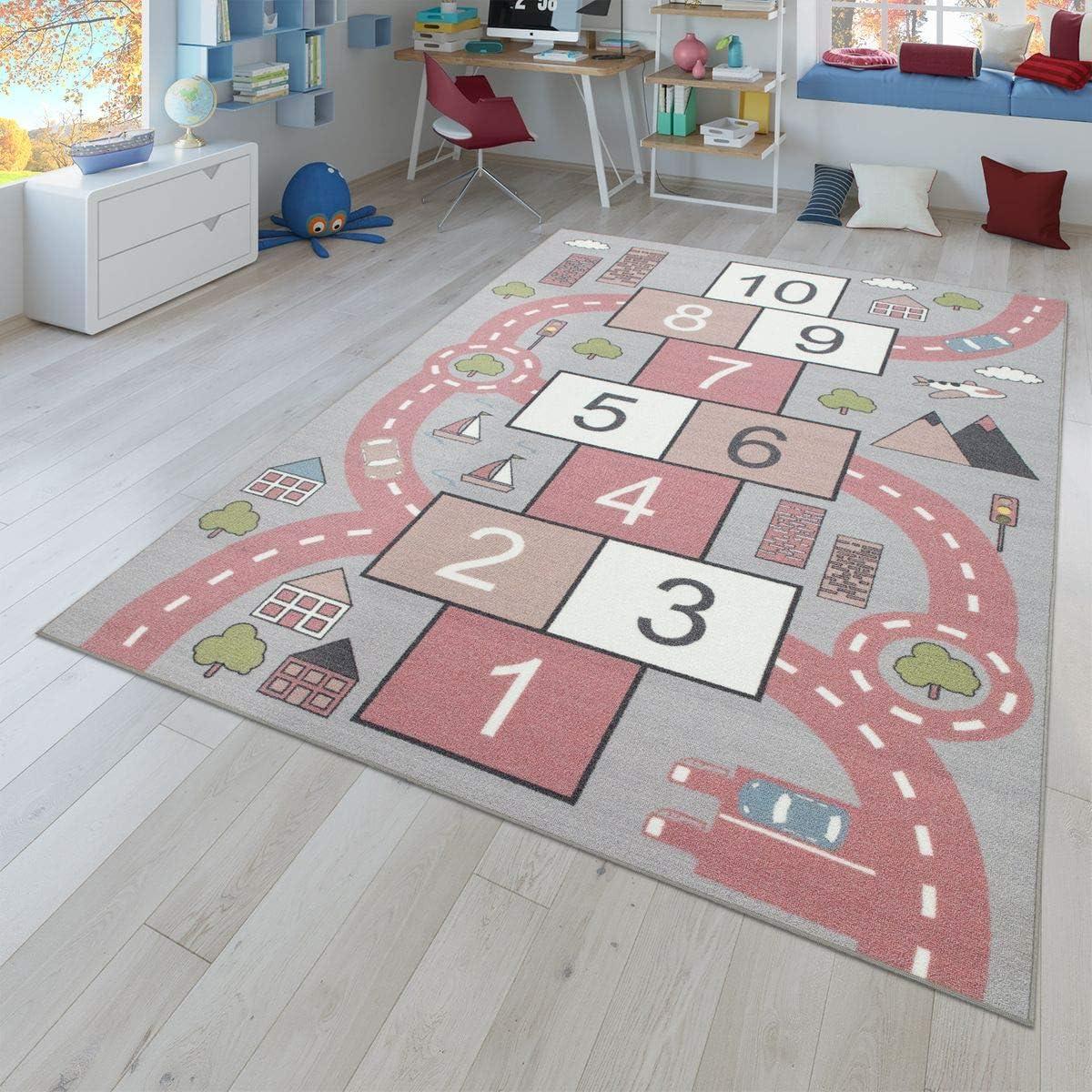 Größe 80x150 Cm Rosa Spielteppich Für Kinderzimmer Straßen Look Hüpfkästchen Tt Home Kinder Teppich