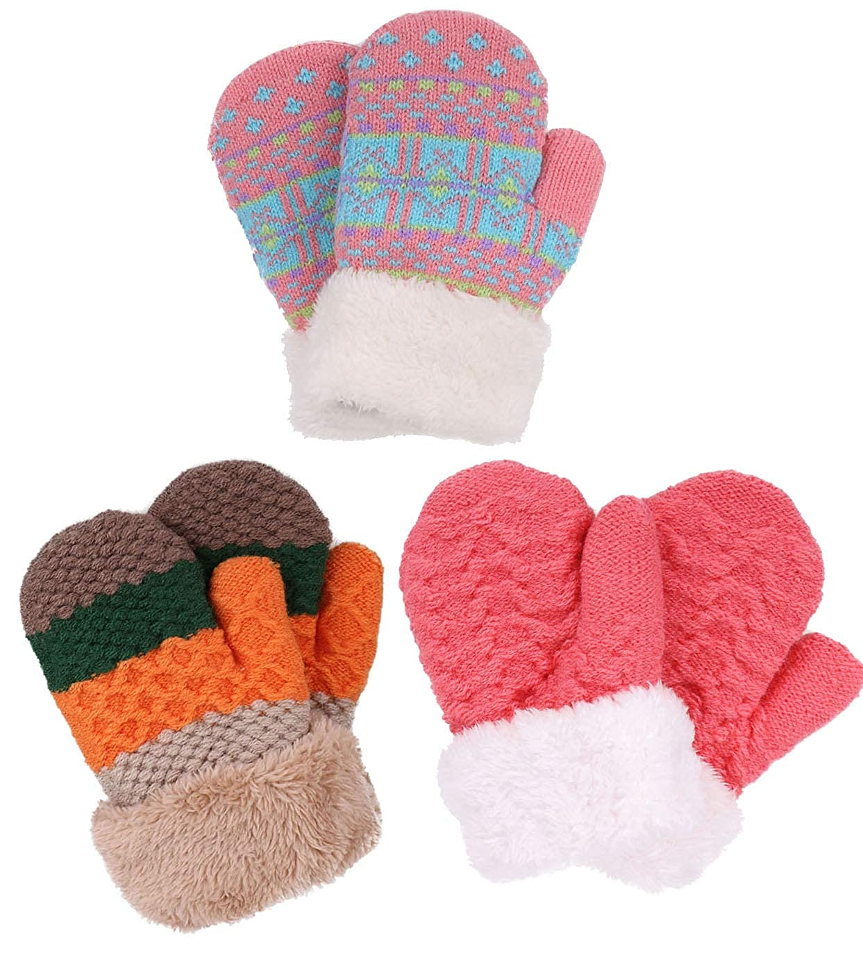 Verabella Boys & Girl's Sherpa Lined Fuzzy Cuff Winter Mittens Kids Knitted Gloves 3 Pairs