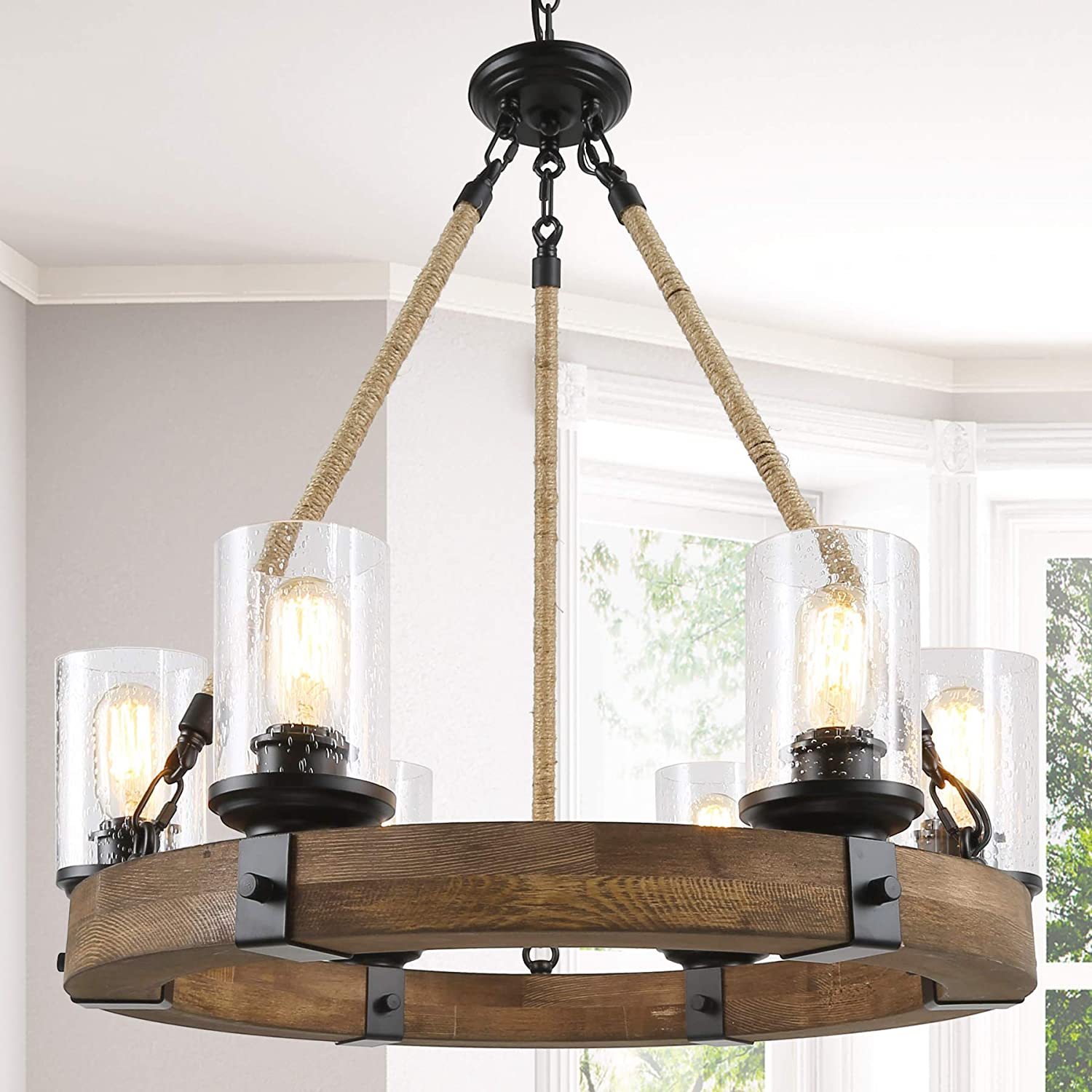 Farmhouse Chandelier For Dining Rooms 6 Light Wagon Wheel Chandelier Hemp Rope Wood Chandelier With Seeded Glass Shade 25 Dia Amazon Com
