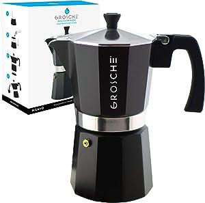 GROSCHE Milano Stovetop Espresso Maker Moka pot 12 Cup - 23.6 fl oz, Black, Cuban Coffee Maker Stove top coffee maker Moka Italian espresso greca coffee maker brewer percolator