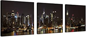 TutuBeer 3 Panels nyc Art nyc Prints nyc Picture Manhattan Night Lights New York Pictures New York Cityscape Canvas Picture New York Wall Decor Stretched and Framed for Wall Decor, 3 Panels/Set
