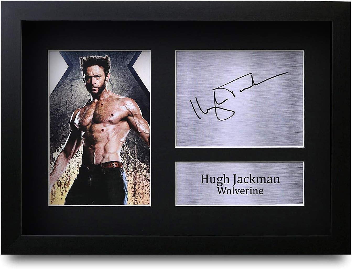 HWC Trading Hugh Jackman GERAHMTES Geschenke Unterzeichneten A4 Gedrucktes Autogramm X-Men Wolverine Druck-Foto-Bilderanzeige
