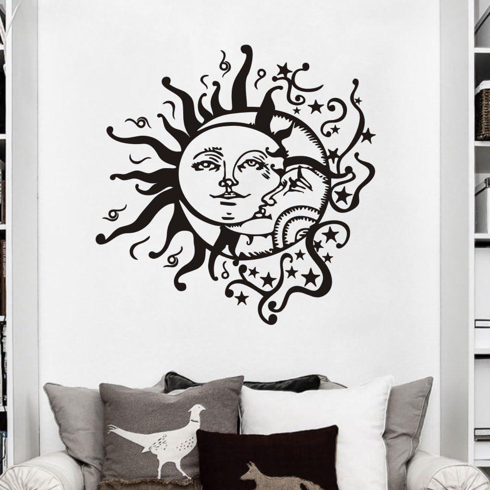 MoharWall Crescent Ethnic Dual Symbol Stars Night Sunshine Wall Decal Sun Moon Sticker Bedroom Vinyl Art Murals Home Decor