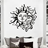 MoharWall Crescent Ethnic Dual Symbol Stars Night Sunshine Wall Decal Sun Moon Sticker Bedroom Vinyl Art Murals Home…
