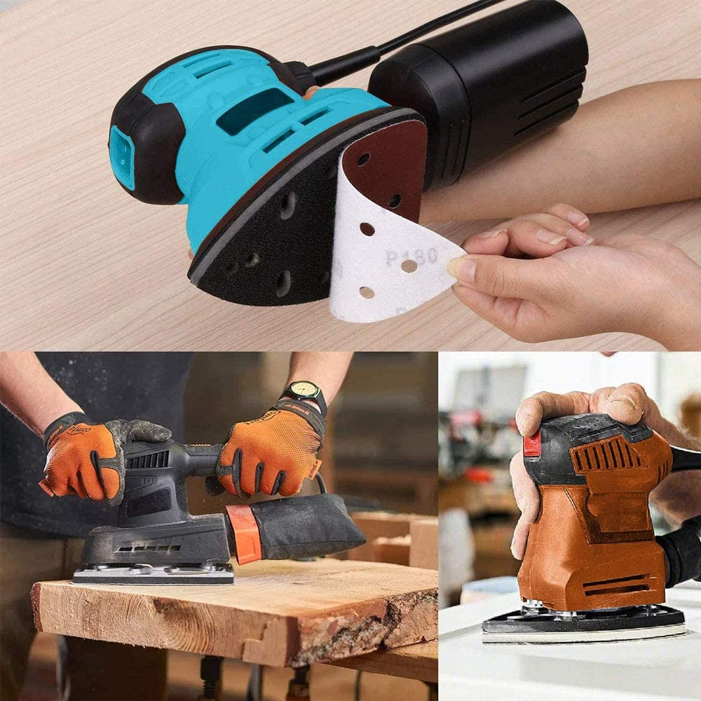 152 x 105mm DIQC 50 Pack Sanding Sheets 40 60 80 120 240 Grit Sandpaper Hook and Loop Mouse Sander Pads Sand Paper for Hand Sander Bosch Multi-Sanders and All Oscillating Multi-Tool
