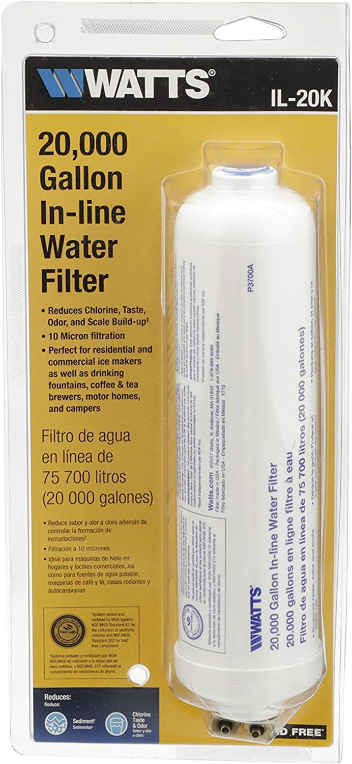 Watts Inline Water Filter 20, 000 gallon Capacity- Inline Filter for refrigerator, Ice Maker, Under Sink, and Reduces Bad Taste, Odors, Chlorine and Sediment in Drinking Water - Replacement Refrigerator Dispenser Water Filters -