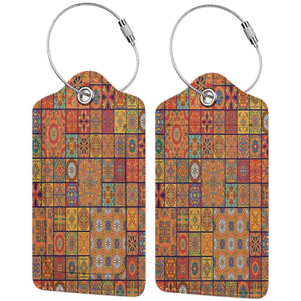 Multi-patterned luggage tag Moroccan Decor Collection Collection of Moroccan Style Geometric Patterns Floral Ornamental Patchwork Print Double-sided printing Orange Red W2.7 x L4.6