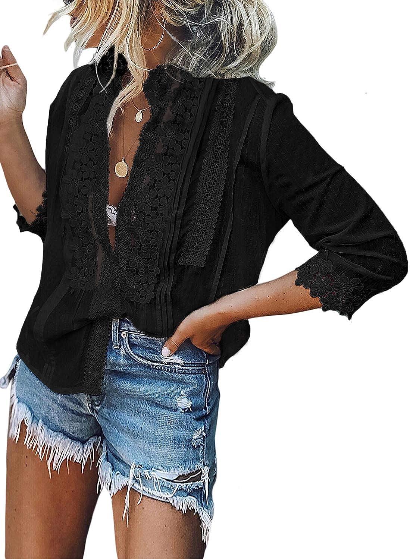 Aleumdr Women's Lace Crochet V Neck 3/4 Sleeve Button Down Blouses ...