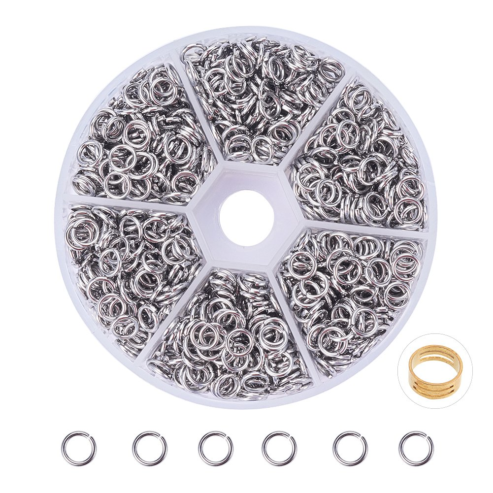 PH PandaHall 1 Box About 2400 Pcs Stainless Steel Open Jump Rings Diameter 4mm Wire 18-Gauge
