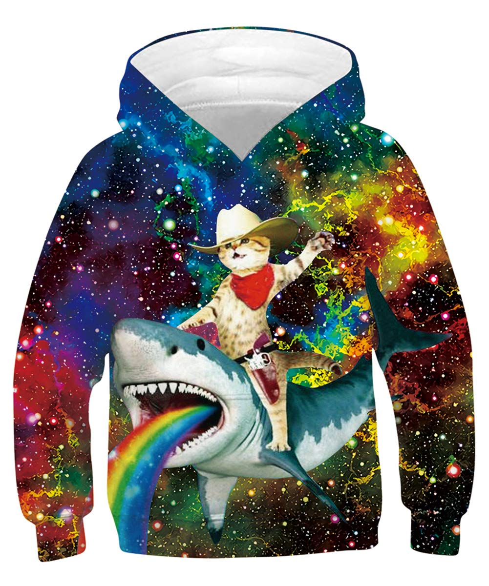 Teen Pullover Hoodies Cowboy Cat Magic Starry Front Pouch Long Sleeve Leisure Tacky Sweatshirt Ink Fashion Digital Jersey Spring Autumn for Bro Friends Guys Pink Blue Teal (Captain Cat,L)