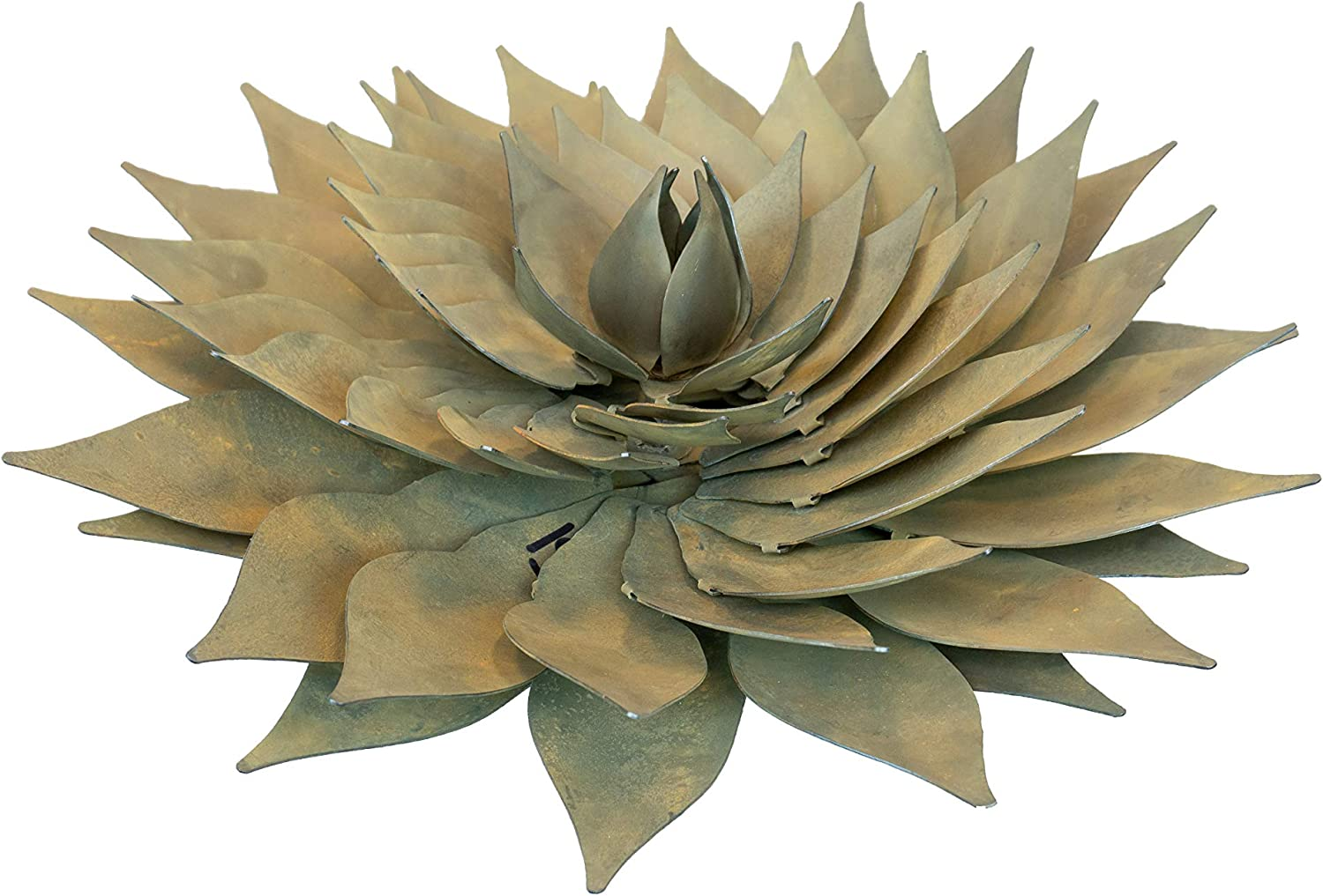 "Desert Steel Spiral Aloe Succulent Statue - (Large - 15"" W) - Outdoor Metal Yard Art & Lawn Decoration"