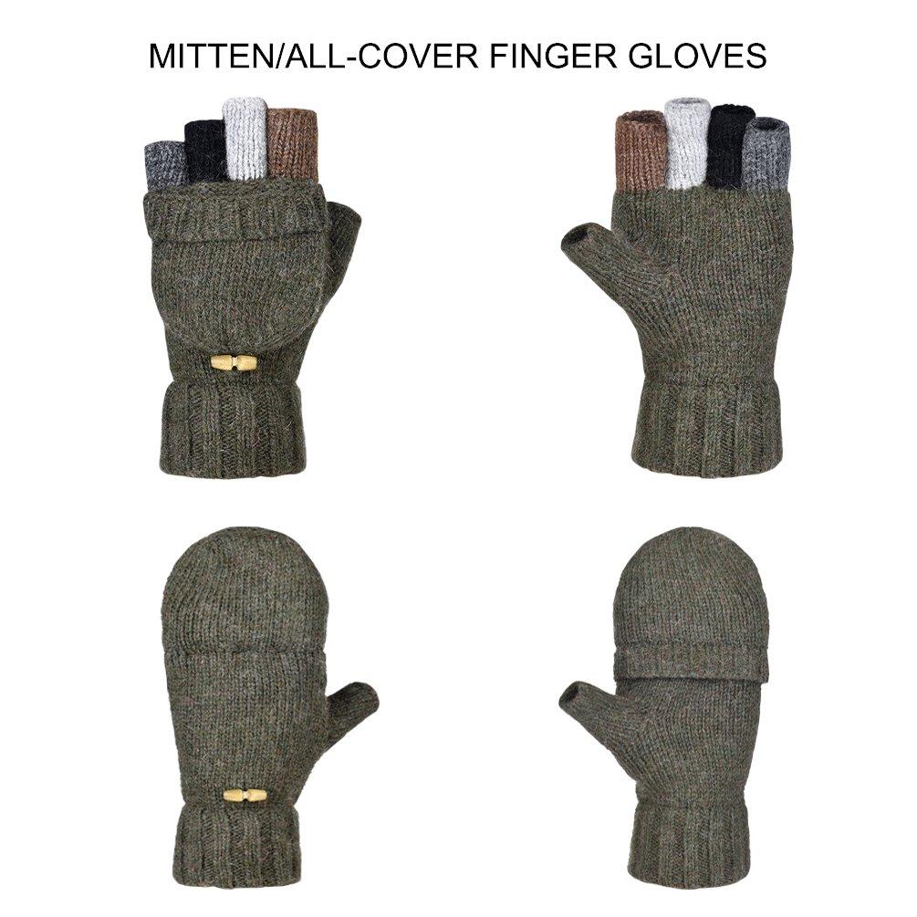 Vbiger Mens Womens Winter Gloves Warm Wool Half-finger Mittens Gloves
