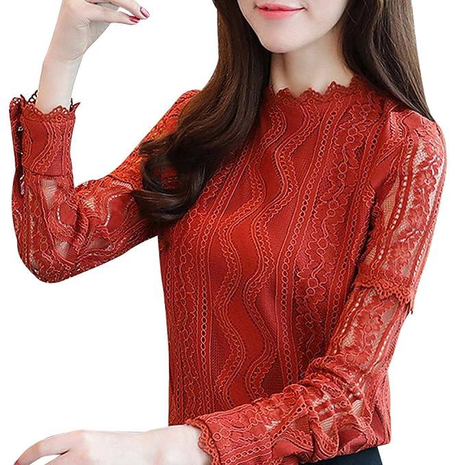 Camiseta de Manga Larga para Mujer, BBestseller Ropa Camisetas Mujer, Correas elásticas de Color sólido con Cuello en O Profundo Top de Encaje de Manga ...