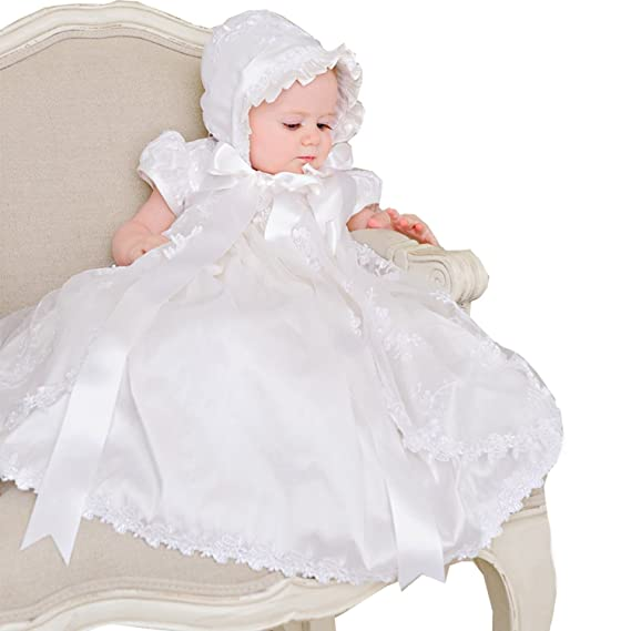 8386818cc Baby Girls Christening Gown with Bonnet Long Infant Baptism Dresses White:  Amazon.co.uk: Clothing
