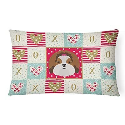 Caroline's Treasures CK5206PW1216 Imperial Shih Tzu Love Canvas Fabric Decorative Pillow, 12H x16W, Multicolor : Garden & Outdoor
