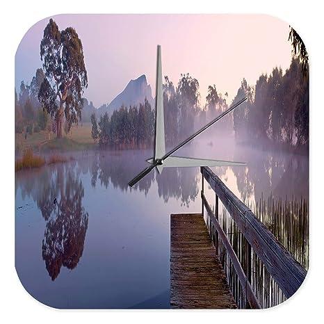 Reloj De Pared Imagen Estaño lago web montaña Plexiglas Imprimido 25x25 cm