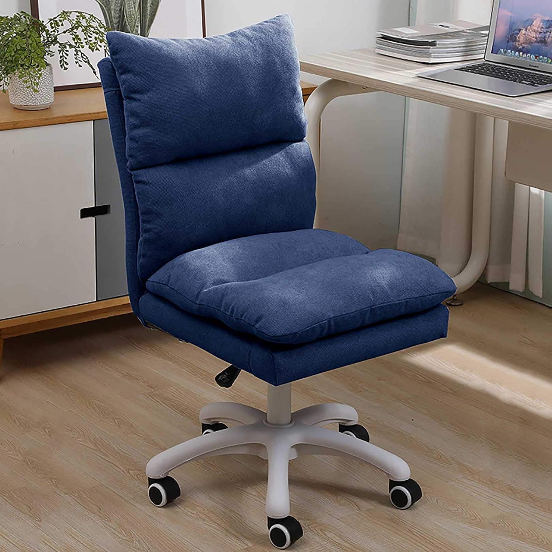 GAOPANG Armlös kontorsstol med hjul ergonomisk hem dator skrivbord stol mitt bak modern svängbar justerbar höjd rullande stol, linne BLÅ