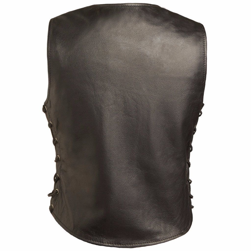 Womens Motorcycle Leather Vest First MFG Co - Honey Badger Black, Medium