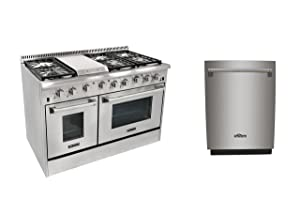 Thor Kitchen 48'' 6 Burners Gas Range with Double Oven+24'' Built-in Dishwahser