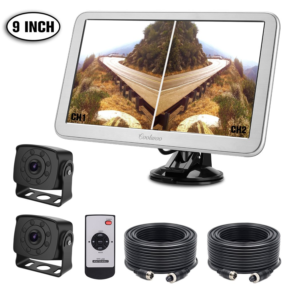 Dual Backup Cameras System, 2 Rear View IP68 Waterproof IR Super Night Vision 175° Wide View Angle Reverse Cameras + 7 inch HD Full Color Display Adjusting Monitor Kit for Jeep Truck RV Van Trailer Motorhome Coolwoo