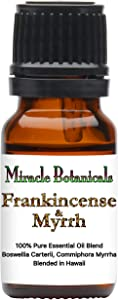 Miracle Botanicals Frankincense and Myrrh Blend - 100% Pure Essential Oil Blend - Therapeutic Grade - 10ml