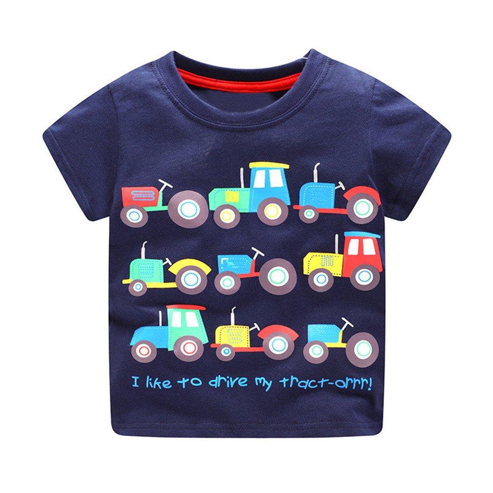KaloryWee Unisex Kids Boys Tops Pullover Sweaters Blouse Cartoon Trucks Printed Short Sleeve T Shirt Jumpers Sweatshirt Clothing 1 2 3 4 5 6 Years Charming Cool Boy Tops