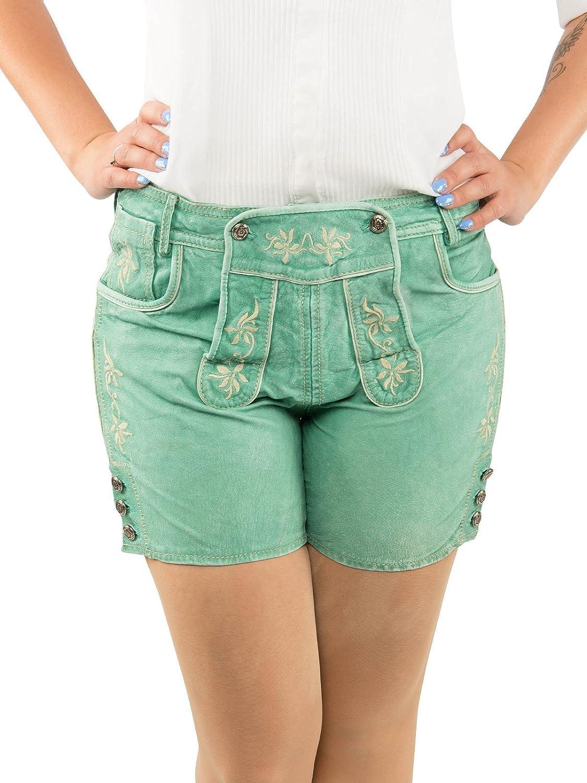 Trachten Damen Lederhose Ledershorts mintgrün